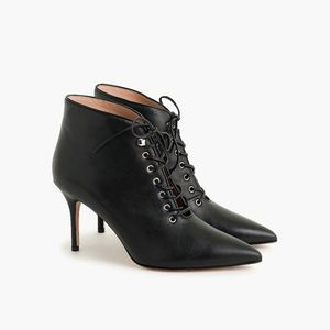 J. Crew Elsie Black Lace Up Pointy Toe Boots